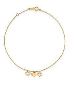 Three Heart Anklet in 14k Yellow Gold