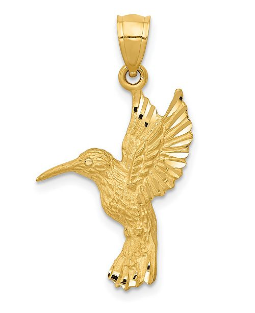Macy's Hummingbird Pendant in 14k Yellow Gold