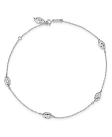 Rice Bead Anklet in 14k White Gold