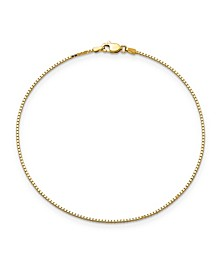 Box Chain Anklet in 14k Yellow Gold