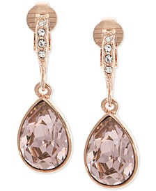 Rose Gold-Tone Crystal Clip-On Drop Earrings