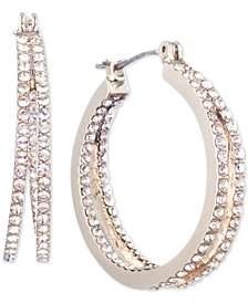 Small Crystal In & Out Double Hoop Earrings 1""