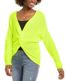 Juniors' Reversible Twist-Front Sweater