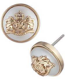 Lauren Ralph Lauren Gold-Tone Crest & Imitation Pearl Stud Earrings