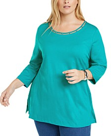 Plus Size Beaded Cutout-Neck Tunic, Created for Macy's