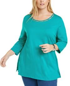 Karen Scott Plus Size Beaded Cutout-Neck Tunic, Created for Macy's