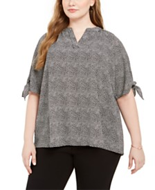 Michael Michael Kors Plus Size Printed Tie-Cuff Top