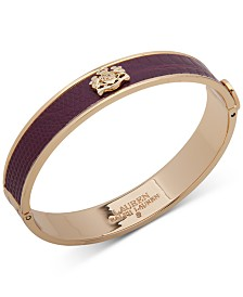 Lauren Ralph Lauren Gold-Tone Crest & Snake-Embossed Bangle Bracelet