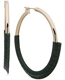 """Medium Gold-Tone Faux-Leather-Wrapped Hoop Earrings 2"""""""