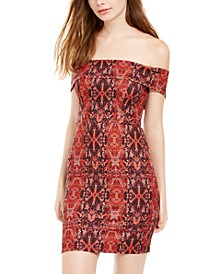 Juniors' Python-Print Off-The-Shoulder Dress
