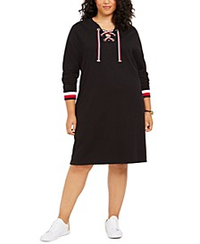 Plus Size Lace-Up Pullover Dress