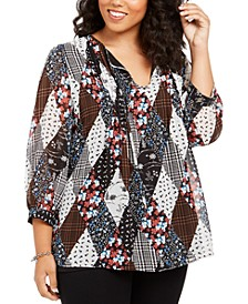 Plus Size Patchwork-Print Pleated Top