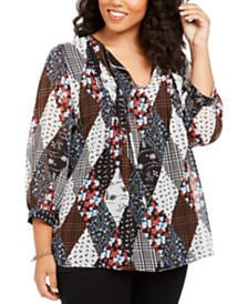 Tommy Hilfiger Plus Size Patchwork-Print Pleated Top