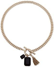 "Lauren Ralph Lauren Gold-Tone Stone & Chain Tassel 17"" Pendant Necklace"