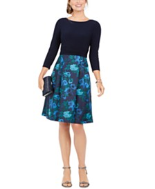 Jessica Howard Solid & Floral Jacquard Fit & Flare Dress