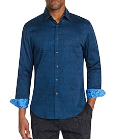 Men's Slim-Fit Stretch Paisley Long Sleeve Shirt