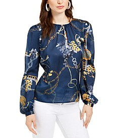 Gathered Chain Print Blouse