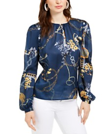 Leyden Gathered Chain Print Blouse