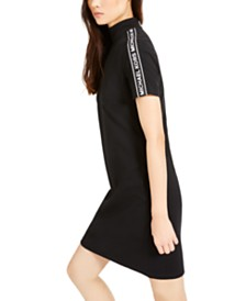 Michael Michael Kors Mock-Neck Logo Sheath Dress