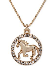 """Lauren Ralph Lauren Gold-Tone Pavé Horse Pendant Necklace, 16"""" + 3"""" extender"""