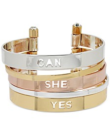 Tri-Tone Yes She Can Multi-Row Cuff Bracelet