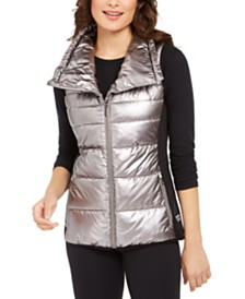 Calvin Klein Performance Metallic Funnel-Neck Puffer Vest