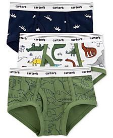 Little & Big Boys 3-Pk. Dinosaur Cotton Briefs