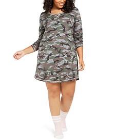 Plus Size Printed Sleep Shirt and Sock Set, Created For Macy's