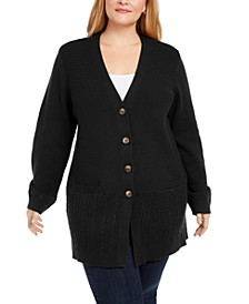Plus Size Ribbed Knit Cardigan Sweater, Created For Macy's