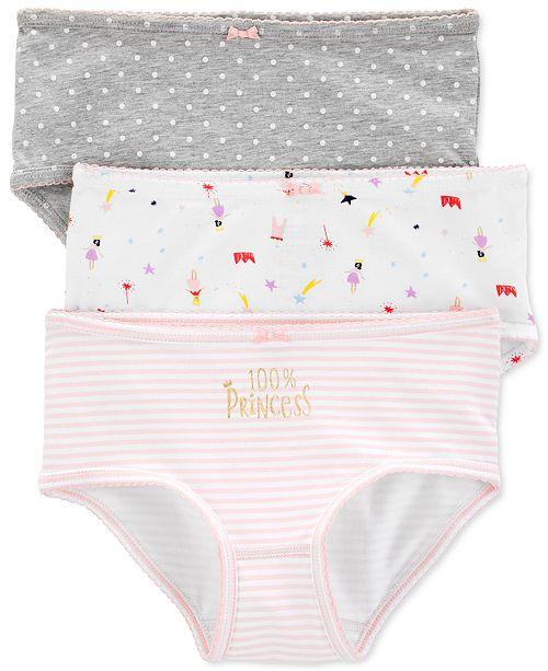 Carter's Little & Big Girls 3-Pk. Princess Underwear