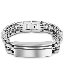Men's Enamel Accent ID Bracelet in Stainless Steel