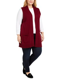 Karen Scott Plus Size Duster-Length Sweater Vest, Created For Macy's