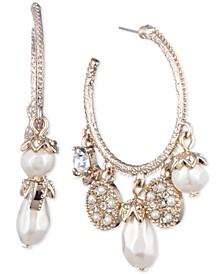 "Medium Gold-Tone Imitation Pearl & Crystal Hoop Earrings 1-5/8"""