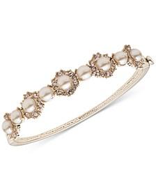 Gold-Tone Imitation Pearl & Crystal Bangle Bracelet