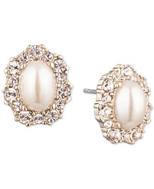 Gold-Tone Imitation Pearl & Crystal Halo Stud Earrings