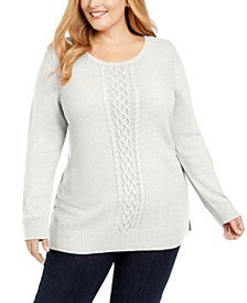 Plus Size Cable-Knit Trimmed Sweater, Created for Macy's