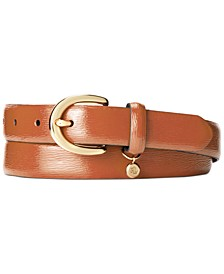 Classic Saffiano Leather Belt with Charm