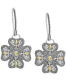 EFFY® Flower Drop Earrings in Sterling Silver & 18k Gold