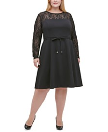 Tommy Hilfiger Plus Size Lace-Sleeve Fit & Flare Dress
