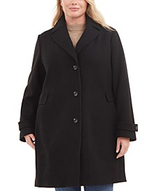 Plus Size Single-Breasted Notch Collar Wool Coat, Created for Macy's