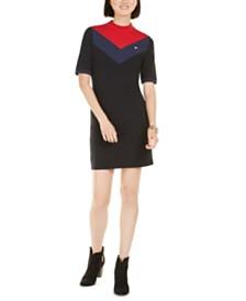 Tommy Hilfiger Sport  Mock Neck Bodycon Logo Dress