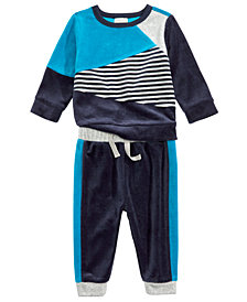 First Impressions Baby Boys 2-Pc. Colorblocked Sweatshirt & Jogger Pants Set, Created For Macy's