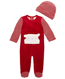 Baby Boys 2-Pc. Hat & Footed Striped Coverall Set, Created For Macy's