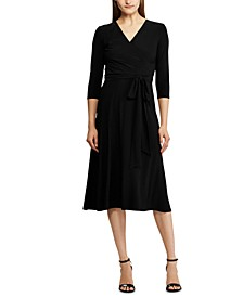 3/4-Sleeve Belted Jersey Midi Dress