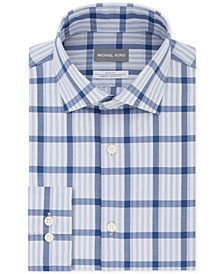 Men's Slim-Fit Non-Iron Airsoft Performance Stretch Blue Check Dress Shirt