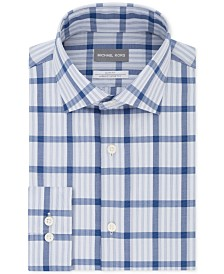 Michael Kors Men's Slim-Fit Non-Iron Airsoft Performance Stretch Blue Check Dress Shirt