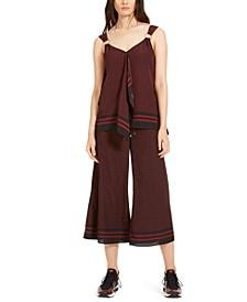 Chic Dot Scarf Top & Wide-Leg Cropped Pants