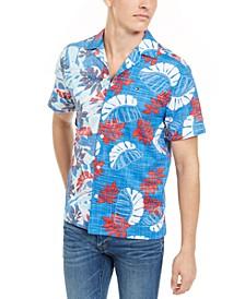 Men's Reid Custom-Fit Tropical-Print Camp Collar Shirt