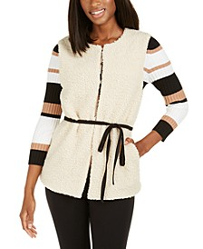 INC Faux-Shearling Duster With Sueded Belt, Created For Macy's