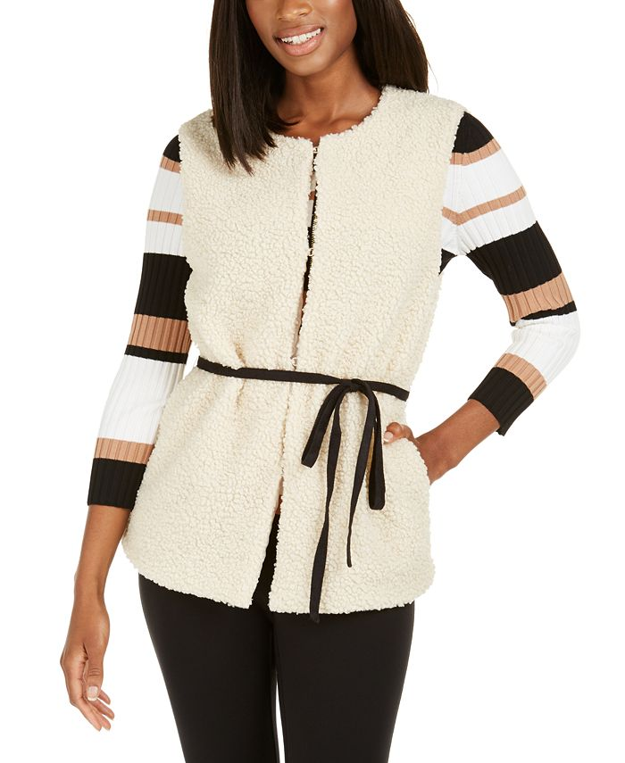INC International Concepts - Faux-Shearling Duster With Sueded Belt